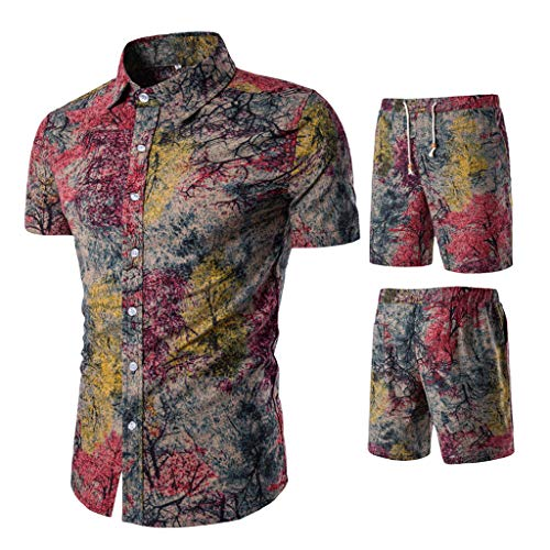 VEZAD Summer New Comfortable Fashion Short Sleeve and Short Pants Printing Men's Suit D Red