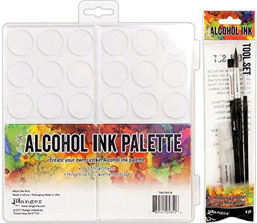 Tim Holtz Alcohol Ink Palette and Alcohol Ink Tool Set Bundle (Set of 2 Items) (Tim Holtz Ink Palette)