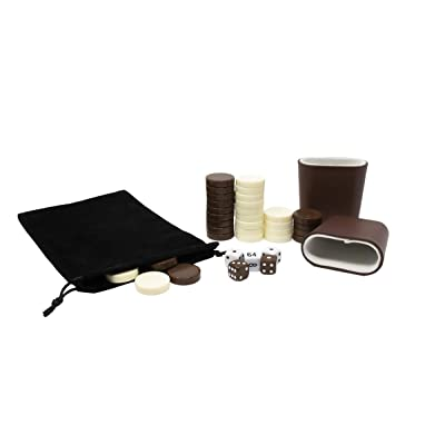 DA VINCI 1.25 inch Brown and Ivory Replacement Backgammon Pieces with 5 Dice and Dice Cups: Toys & Games