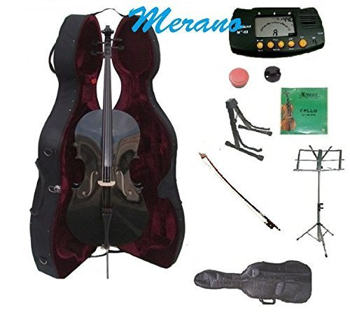 Merano 4/4 Full Size Black Cello with Hard Case with Bag and Bow+2 Sets of Strings+Cello Stand+Music Stand+Metro Tuner+Mute+Rosin