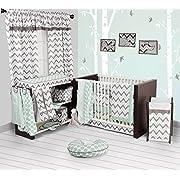Bacati Ikat Chevron Muslin 10 Piece Crib Set with Bumper Pad, Mint/Grey