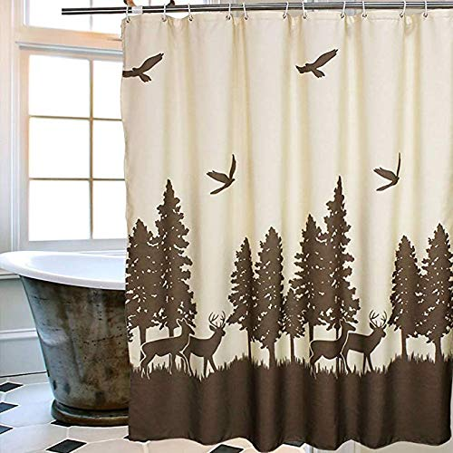 Uphome Deer in The Forest Fabric Shower Curtain - Hunting Theme Beige and Coffee Country Moose Waterproof Bathroom Cloth Shower Curtain Cabin Decor, 72 X 72 Inch ()