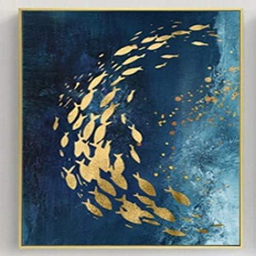 RTCKF Luz Moderna Pintura al óleo Hoja de Oro Escuela de Peces Pintura Decorativa Abstracta Dormitorio Sala de Estar Pintura núcleo sin Marco A4 60cmx80cm: Amazon.es: Hogar