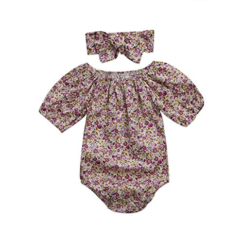 Newborn Kids Baby Girls Clothes Floral Outfits Set Romper with Headband Fall Bodysuit (0~6months, Floral) (Beautiful Girls Clothing)