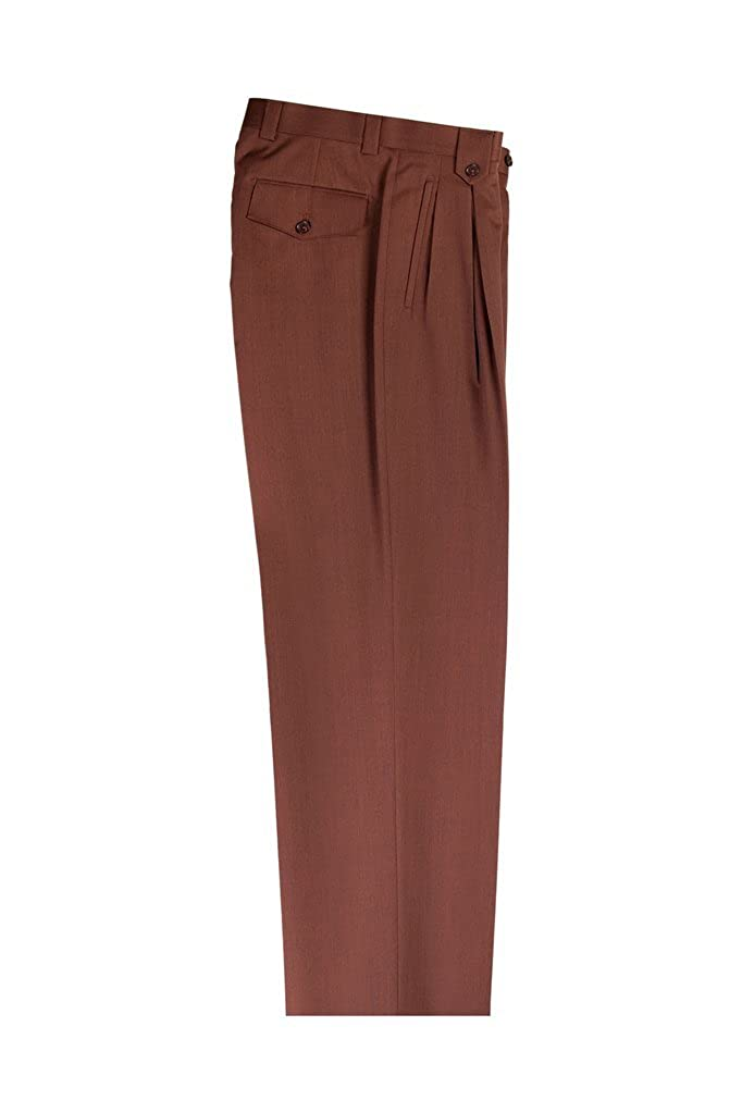 ab030f51b6 Tiglio Saddle Brown Wide Leg, Pure Wool Dress Pants 2576 RB99612/4503 at  Amazon Men's Clothing store: