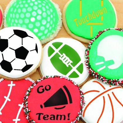 Designer Stencils C219 Small Sports Ball Cupcake and Cookie Stencils (Basketball - Golf - Soccer - Baseball), Beige/semi-transparent by Designer Stencils (Image #2)