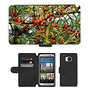 Hot Style Cell Phone Card Slot PU Leather Wallet Case // M00111067 Sea Buckthorn Fruits Berries Orange // HTC One M9