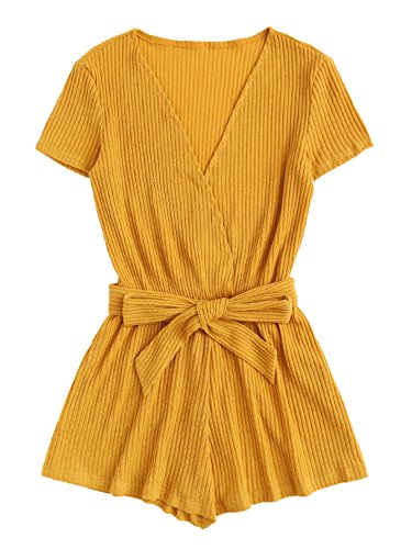 MAKEMECHIC Women's Self Tie Causal Ribbed V-Neck Solid Wrap Jumpsuit Romper Yellow XL (Jumpsuit Wrap)
