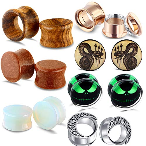 TIANCI FBYJS 7 Pairs Stainless Steel Ear Guges Tunnels Earrings Stretcher Plugs Stretching Screw Fit Piercing for Men Women 2g - 5/8' (Rose 0.625')