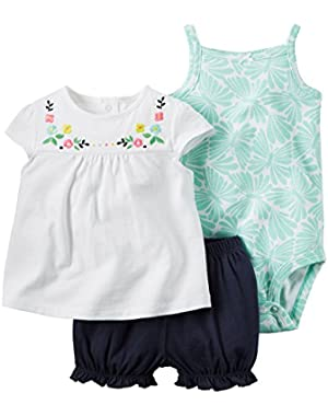 Carters Baby Clothing Outfit Girls 3-Piece Bodysuit & Diaper Cover Set Embroidered Floral