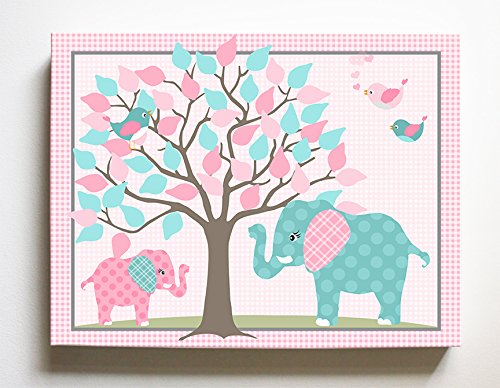 Whimsical Elephant & Lovebirds Garden - Checkerboard Stretched Canvas Nursery Decor - Wall Art That Makes a Memorable Baby Gift Idea 100% Wooden Frame Construction - Ready to Hang 20X24