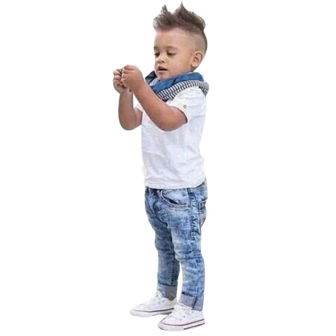 Conjuntos Lindo Bebe Niño, Sonnena Botones T-Shirt Manga Corta Camiseta Top + Jeans Pantalones Largos + Bufanda Traje Ropa Conjuntos