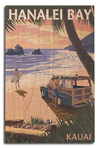 Lantern Press Hanalei Bay, Kauai, Hawaii - Woody on Beach (10x15 Wood Wall Sign, Wall Decor Ready to Hang) ()