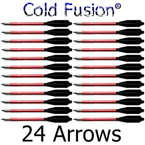 Coldfusion 24 Aluminum Metal Bolts Arrows for 50 & 80 LB Crossbow Archery - Choose A Color! (Red) ()