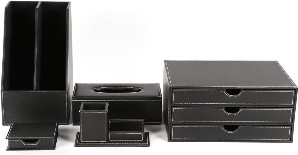 KINGFOM Office Desk Organizer Set 5PCS Supplies Synthetic Leather Including File Holder Cabinet, Desk Organizer Drawer, Multifunction Pencil Holder, Memo Paper Holder,and Tissue Box Holder (T09-Black)
