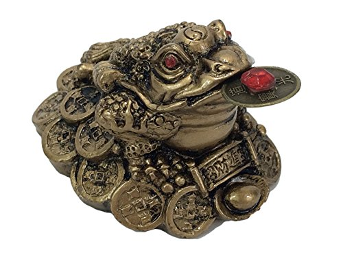 Fortune Lucky Coin Frog Money Toad Brass/Gold Resin Feng Shui ()