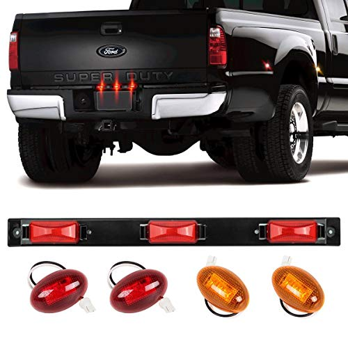 Partsam Red 3 Bar Light &LED Fender Bed Side Marker Lights Replacement For Ford F-series, Rear Pickup Tailgate Kit (Side Fender Marker Lights & 3-Light ID Identification Light Bar Red Led Strip)