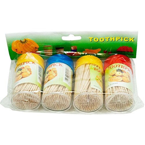 4 Pack Toothpick Dispenser/Canister Bundle (Toothpicks Included) - Great For Hors D'oeuvres, Appetizers, Dinner, Picnics And Countless Other Events (Toothpick Plastic Dispenser)