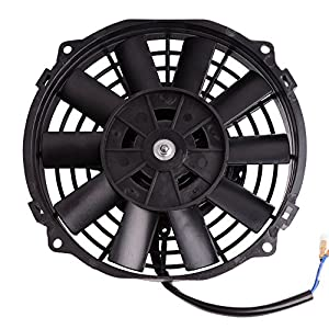 "Universal Slim Fan Push Pull Electric Radiator Cooling Fans 12V 80W Engine Fan with Mount Kit (Diameter 8.27"" Depth 2.56"")"