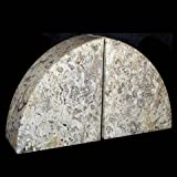 Khan Imports Decorative Stone Bookends, Heavy Fossil Marble Bookends for Shelves