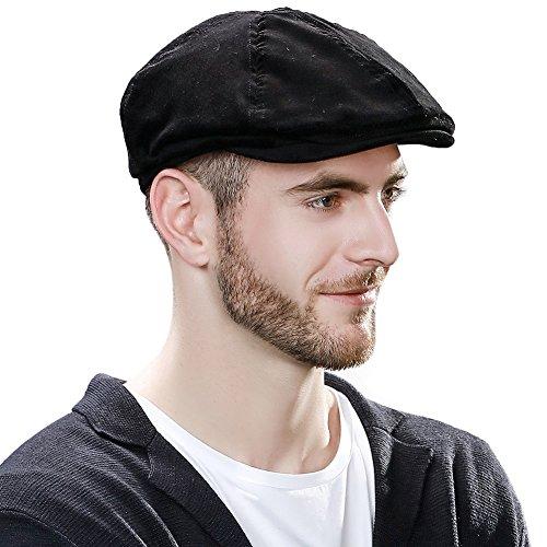 SIGGI Cotton newsboy Cap For Men Winter Hat Hunting IVY Flat Cap British Drivers Cap Black (Tweed Driver Style Cap)
