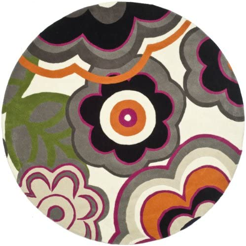 Safavieh Soho Collection SOH752A Handmade Multicolored Premium Wool Round Area Rug 6' Diameter