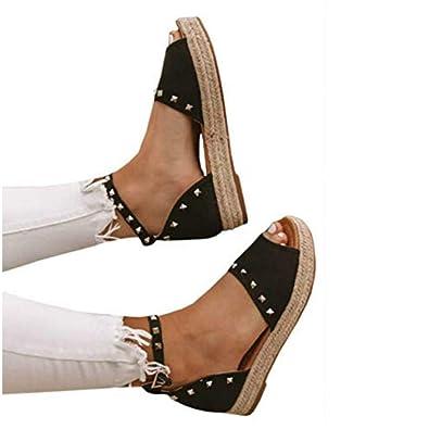 16dc2d220d5e Amazon.com  Liyuandian Women s Flatform Sandals Espadrille Open Toe Rivet  Platform Boho Ankle Strap Shoes  Shoes