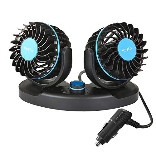 - Car Fan 12V, Electric Car Cooling Fan with 360 Degree Adjustable Dual Head That Plugs into Cigarette Lighter/Low Noise Automobile Vehicle Fan for Car Truck Van SUV RV Boat