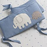 Lambs & Ivy Signature Elephant Tales 4 Piece Crib Bumper Pads - Blue