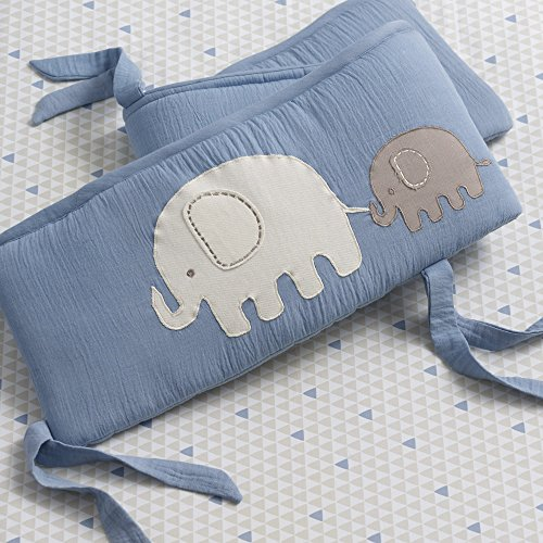 Lambs & Ivy Signature Elephant Tales 4 Piece Crib Bumper Pads - Blue by Lambs & Ivy