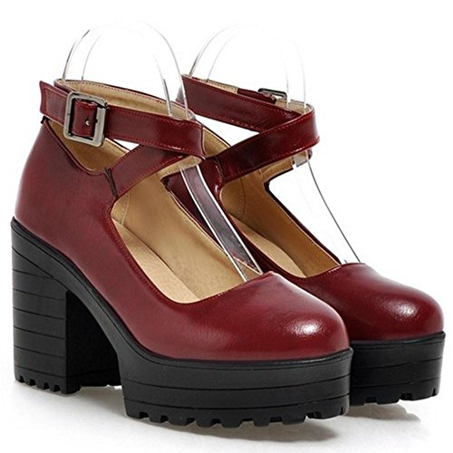 High Pumps Fashion Heels Claret Women KemeKiss EIOqw7O