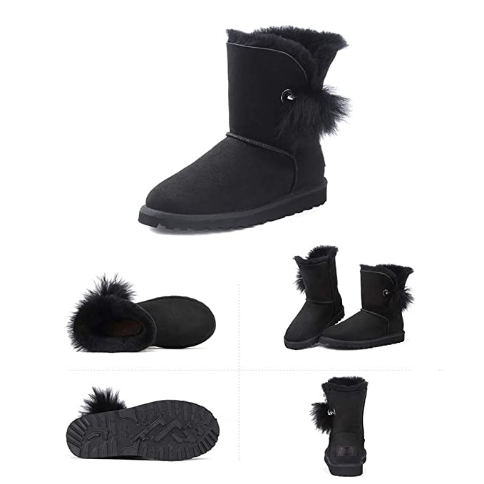 734b7026e03b Amazon.com  Hy Women s Snow Boots Winter Flat Fashion Booties,Ladies Plus  Cashmere Warm Windproof Snowproof Cute Hair Ball Fashion Boots Outdoor  Exercise ...