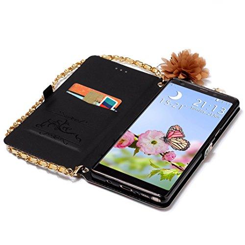 Galaxy Note 8 Funda de Cuero, Galaxy Note 8 N950 Carcasa Libro con Tapas y Cartera, Moon mood PU Cuero Funda Piel Capas con Suave TPU Silicona Cubierta Para Samsung Galaxy Note 8 SM-N950 6.3 pulgadas  Rosa azul