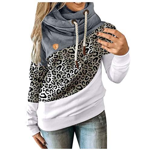 BiuBuy Womens Cowl Neck Color Block Striped Tunic Sweatshirt Drawstring Pullover Long Sleeve Hoodie Casual Tops