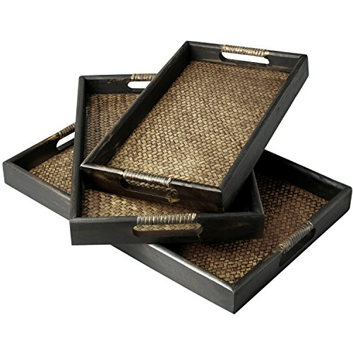 Set of 3 Dark Brown Wood and Woven Rattan Nesting Serving Trays with Cut-Out Handles