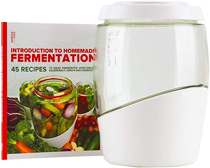 Bocal de fermentation en verre de 2L Faire des aliments ferment/és maison Mortier Pilon kimchi, cornichons, choucroute, l/égumes biologiques Livre de recettes gratuit