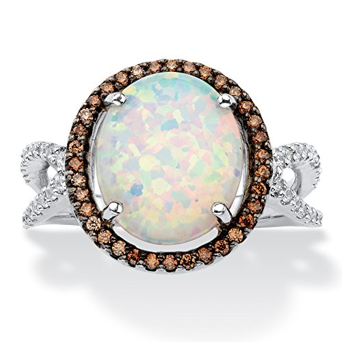 Sterling Silver Oval Created Opal and Brown Cubic Zirconia Halo Ring Size 9