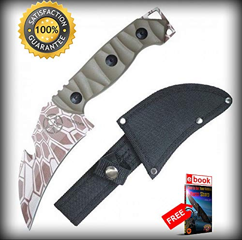 (Tactical SHARP KNIFE Wartech 8.5'' Overall Full Tang Tan Camo Hawkbill Gut Hook Blade Combat Tactical Knife + eBOOK by Moon Knives)