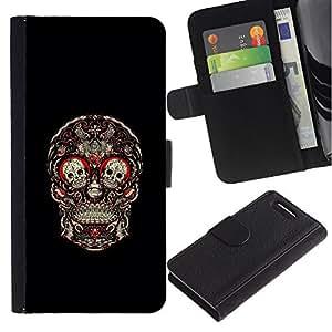 Stuss Case / Funda Carcasa PU de Cuero - Cráneo Rojo Sangre Rose Floral Negro - Sony Xperia Z3 Compact