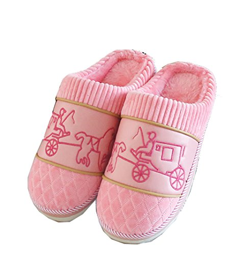 Blubi Vrouwen Zachte Pluche Klassieke Patroon Huis Slippers Voor Vrouwen Chinese Slippers (5 M, Roze)
