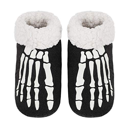 Womens Indoor Warm Fleece Slippers Skeleton Bone Winter Soft Cozy Home Booties Non-Slip Plush Slip-on Shoes Ankle Boots (L: US 8.5-9 B(M), Black Skeleton Bone)