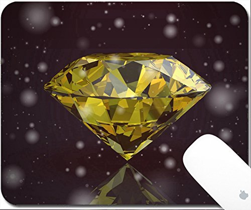 Luxlady Gaming Mousepad 9.25in X 7.25in IMAGE: 34731556 yellow sapphire on black background Vintage Style (Brilliant Yellow Sapphire Gem)