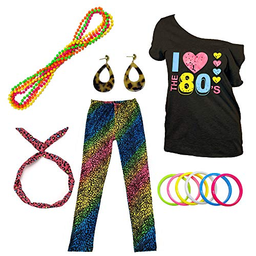 I Love The 80s Disco T-Shirt 1980s Party Theme Costume Outfit Accessories (Small, Leopard-2) -