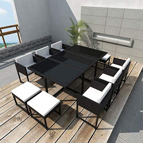 Tidyard Modern 10-Person Outdoor Dining Set 27 Pieces Furniture Set Tempered Glass Table Black Poly Rattan for Garden Patio