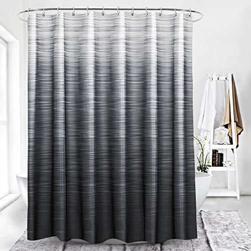 BROSHAN Modern Black Shower Curtain Fabric, Black Ombre Pattern Grey Neutral Home Bath Curtain Polyester Waterproof Bathroom Decor Set with Hooks, 72 Inch Long (Grey Black Shower Curtain)