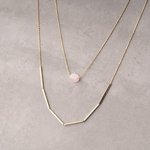 Simulated Rose Quartz Double Chain Minimal Bar Necklace