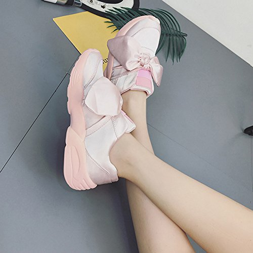 IGEMY Spring Espadrilles Woman Shoes Bow-Knot Flats Silk Bow Woman Round Shoes Pink eOY6AC866h