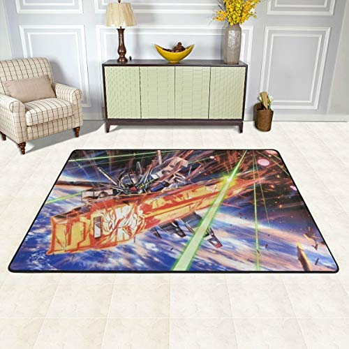 Angela R Mathews Gundam Seed-Strike Gundam Non-Slip Carpet Area Rug Modern Flannel Microfiber Anime/Cartoon Rectangle Carpet Decor Floor Rug Living Room,Bedroom,Study Floor Mat 3' X 2'