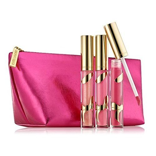 Estee Lauder Pure Color Brillantes LipGloss Trio (04-Brazen Berry (Shine Gloss), 21-Pink Innocence (Shimmer Gloss), 26-Extravagant Pink (Shimmer Gloss)) + Cosmetic Bag