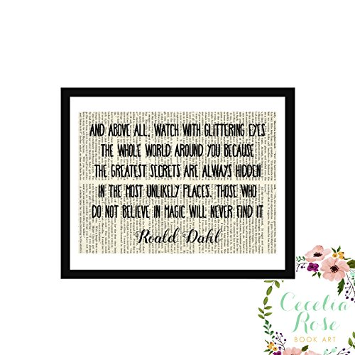 And above all, watch with glittering eyes the whole world around you Those who do not believe in magic will never find it Roald Dahl Children's Nursery Farmhouse Book Art 6x8 Box Framed Print